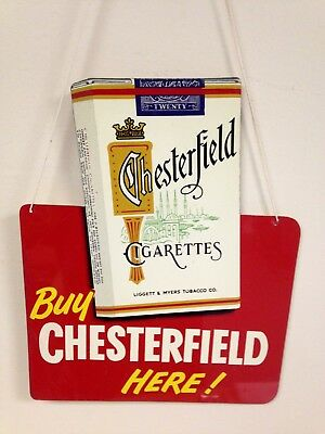 Vintage Hanging Two Sided Metal Tobacco Sign Chesterfield And L&M Cigarettes
