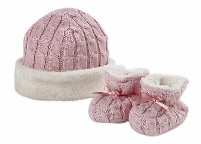 Natures Purest Fur Lined Cable Knit Hat & Booties Set - Pink (0098D)