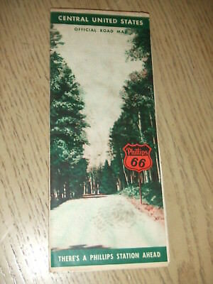 VINTAGE 1946 Phillips 66 Oil Gas Central United States Highway Road Map Mileage