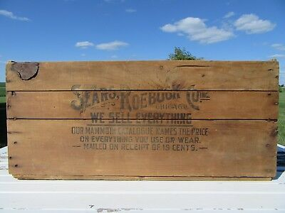 Vintage Sears & Roebuck Wood Crate Advertising WOW Globe Graphics on Ends