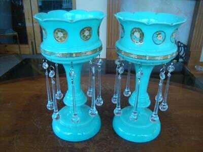 Good Pair Of Antique Victorian Powder Blue Enameled Glass Mantle Lustres.