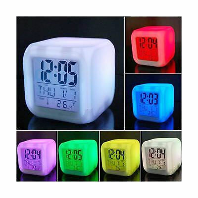 Vinmax Digital Alarm Thermometer Night Glowing Cube 7 Colors Clock LED Change...