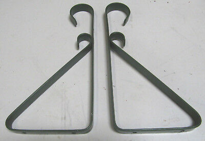 Vintage Pair Green Metal Shelf Brackets