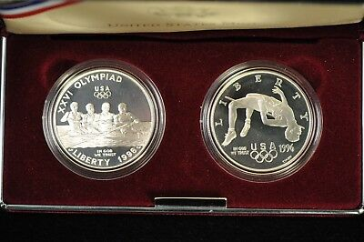 1996 Olympic Two Coin Silver Proof Set /S1