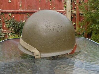 WW2 US ARMY M1 type Army Helmet restored post war correct colour and chin  straps