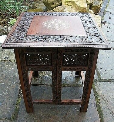 Large  Antique  Folding   Inlaid Anglo/ Indian   Side Table