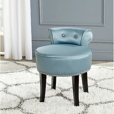 Teal Vanity Stool Fabric Seat Espresso Wood Frame Tufted Back Bed Room Chair New