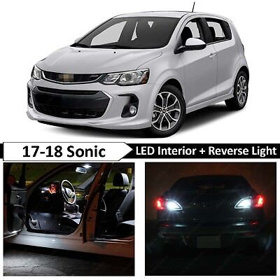 8x White Interior Reverse Backup LED Light Package Kit for 2017-2018 Chevy Sonic
