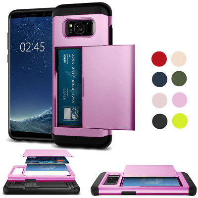 For Samsung Galaxy Phones Luxury ID Cards Pocket Camera Protector Case Cover