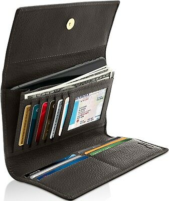 Genuine Leather Wallets For Womens - Ladies Trifold Clutch Wallet RFID Blocking