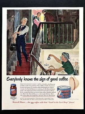 1950 Vintage Print Ad MAXWELL HOUSE Coffee Illustration Art Doctor Deliver Baby
