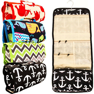 Travel Cosmetic Bag Toiletry Makeup Organizer Pouch Print Pocket Hanging Storage