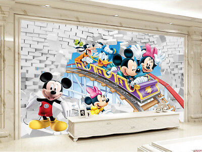 Colorful Mickey Mouse 3D Full Wall Mural Photo Wallpaper Printing Home Kids Deco