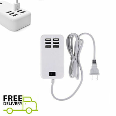 6 Port USB Desktop Multi-Function Fast Wall Charger Station AC Power Adapter NEW
