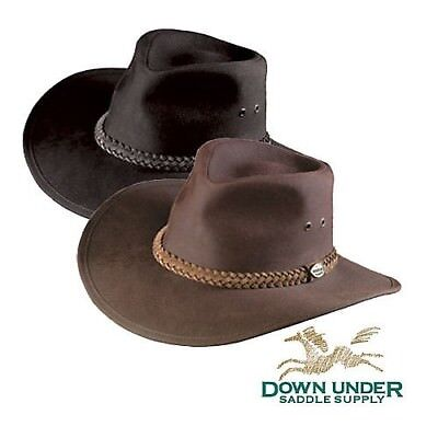 (Large, Black) - Down Under Australian Oilskin Hat. Down Under Saddle Supply