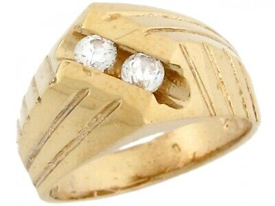 10k or 14k Yellow Gold Double White CZ Woven Designer Baby Ring
