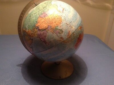 Vintage Replogle World Nation Series Raised Relief Topography Globe LeRoy Tolman