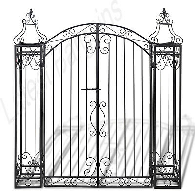 New Ornamental Gate Wrought Iron Garden Entry Pathway Fencing Home Black