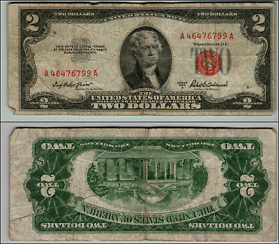 1953A $2 Dollar Bill Old  Note Legal Tender Paper Money Currency Red Seal P794
