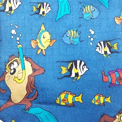 Warner Brothers Looney Tunes Blue Taz Tweety Scuba Diving Fish Novelty Neck Tie