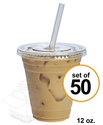 COMFY PACKAGE 50 Sets 12 oz. Plastic CRYSTAL CLEAR Cups with Flat Lids for Cold