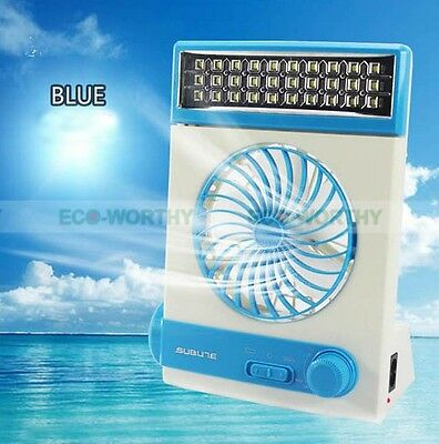 Portable Blue Rechargeable DC 12V Solar Fan For Outdoor Hiking Travel Camping