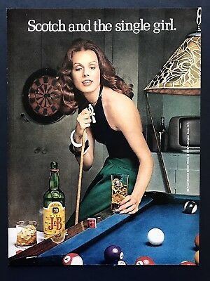 1973 Vintage Print Ad J&B Scotch And The Single Girl Pool Billiards Image Beauty