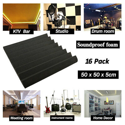 16 Pack Acoustic Wedge Studio Soundproofing Foam KTV Wall Tiles 50x50x5cm Black
