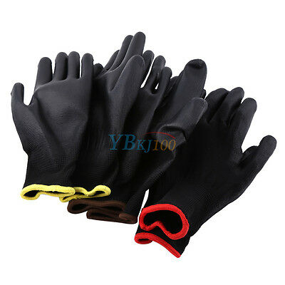 12/24 Pairs Black PU Hand Palm Protect Gloves Builders Worker Safety Glove S M L