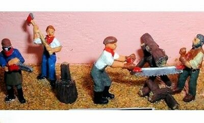 Assorted FORESTRY WORKERS x 4 - PAINTED & ASSEMBLED OO / HO MODEL TRAINS