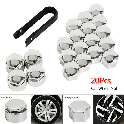 20X Chrome Wheel Nut Caps Bolt Covers FOR Audi VW Vauxhall Bmw Mercedes 17mm New