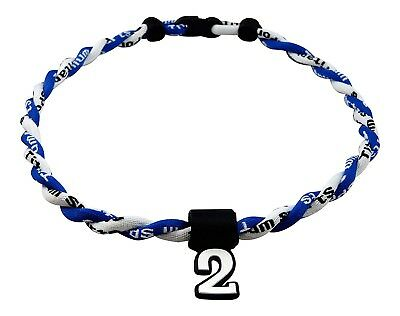 (Royal White) - Pick Your Number - Twisted Titanium Sports Tornado Necklace