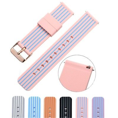 (22mm, pink/blue) - Cumeou Silicone Replacement Quick Release Watch Band Strap