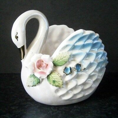 VINTAGE JAPANESE CHINA BEAUTIFUL LUSTRE GLAZE SWAN VASE with APPLIED FLOWERS