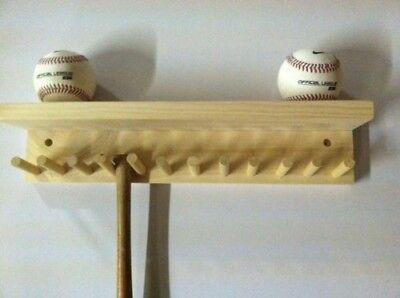 Baseball Bat Rack and Ball Holder Display Natural Finish Meant to Hold up to