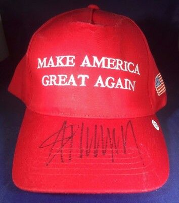"""President Donald Trump - Hand Signed """"make America Great Again"""" Red Hat - Coa"""