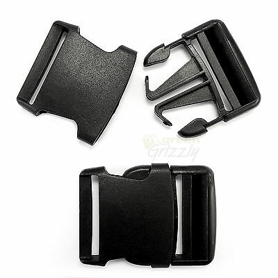 Black Plastic single adjusting side release buckle for 50 mm webbing bag, AIG