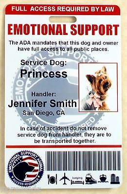 Holographic Emotional Support Animal Id Badge  Esa Service Dog Id Card   0Es H