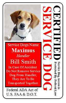 Custom ID Card / Badge for Service Dog Certified Working Dog Service Animal 20