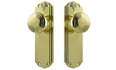 "DOOR KNOBS-""BONDI""-POLISHED BRASS-HERITAGE deco style retro VINTAGE HANDLE PAIR"