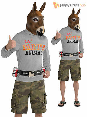 Adults Party Animal Costume Mens Jackass Donkey Stag Novelty Funny Fancy Dress