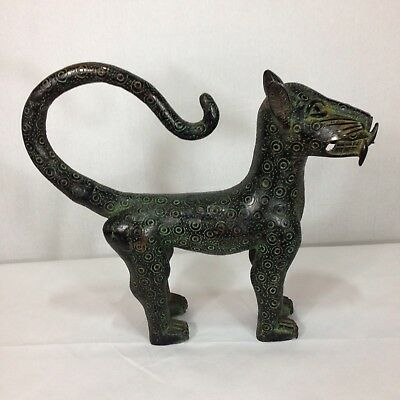 Large Benin Bronze Leopard Nigerian African Tribal Art 42cm Long 37cm High