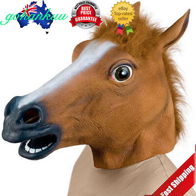 Horse Head Mask Latex Animal Costume Prop Gangnam Style Toys Party Halloween lc