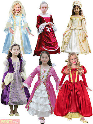 Girls Princess Costume Childs Fairytale Tudor Medieval Historical Fancy Dress