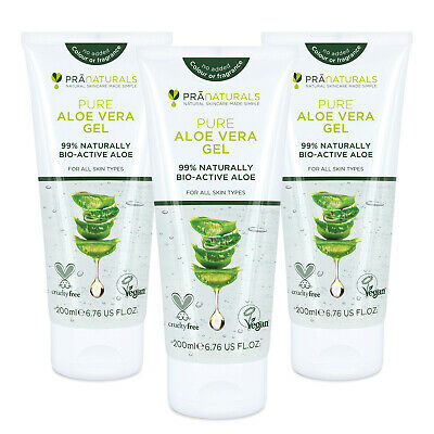 PraNaturals 99% Pure Aloe Vera Soothing Gel Vegan Organic Skin Moisturiser 200ml