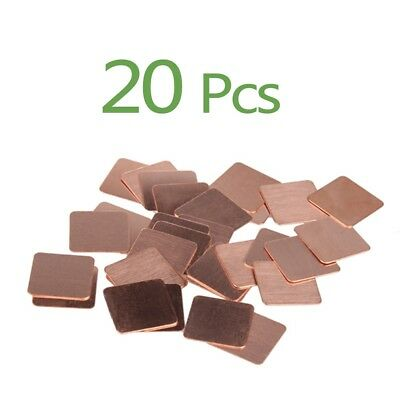 20pcs 15mmx15mmx1mm Heatsink Copper Shim Thermal Pads for GPU CPU VGA w/