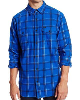 New HURLEY Men/'s Blue Plaid Casual Banning L//S Button Up Flannel Shirt $55