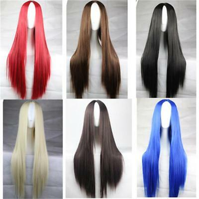 Uk Stock Women Fashion Long Hair Full Wig Natural Straight Synthetic Hair Wigs