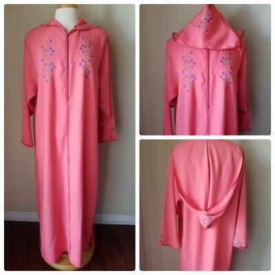 Womens Moroccan Djellaba Hooded Caftan Kaftan Traditional Hand Embroidered Peach