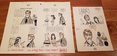 "Mad Magazine Original Funny Vintage Comic Art 2 Sheets by Dave ""David"" Berg!"